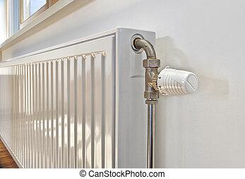 witte , radiator, in, een, apartment.