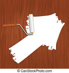 witte , richtingwijzer, geverfde, op, de, houten, achtergrond