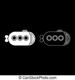 witte , schets, verscheep kleur, vector, set, beeld, plat, illustratie, stijl, scheepje, bathyscaphe, onderwater, pictogram, duikboot