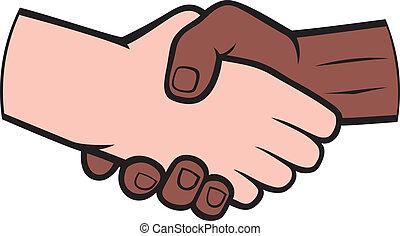 witte , schudden, zwarte man, hand