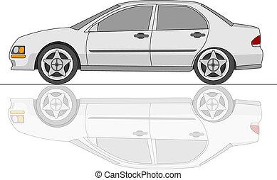 witte , sedan, auto, met, reflectie