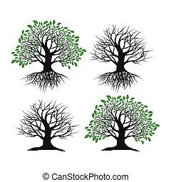 witte , set, achtergrond, bomen