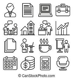 witte , set, achtergrond., stijl, vector, lijn, iconen, kantoor