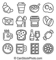 witte , set, achtergrond., stijl, vector, ontbijt, lijn, iconen