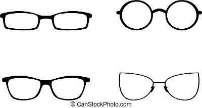 witte , set, vrijstaand, achtergrond, bril