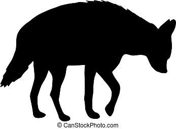 witte , silhouette, achtergrond, hyena