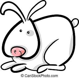 witte , spotprent, illustratie, konijntje