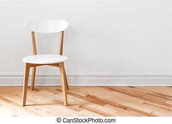witte , stoel, in, een, empty room
