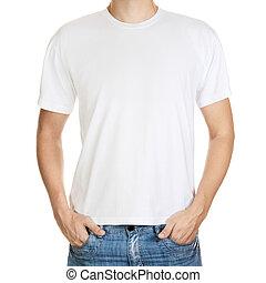 witte t-shirt, op, een, jonge man, mal, vrijstaand, op wit,...