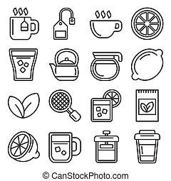 witte , thee, achtergrond., stijl, set, vector, lijn, iconen