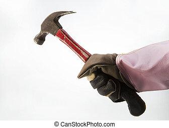 witte , tools., vrijstaand, werkende , handen