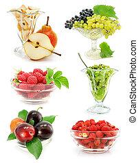 witte , vaas, vrijstaand, verzameling, vruchten