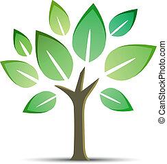 witte , vector, boompje, vrijstaand, achtergrond