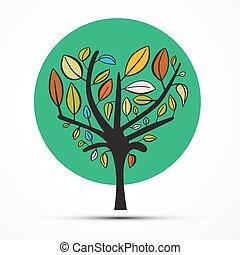 witte , vector, boompje, vrijstaand, illustratie