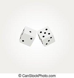 witte , vector, dobbelsteen, illustratie, twee