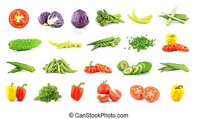 witte , verzameling, vrijstaand, groentes