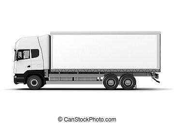 witte , vrachtwagen, achtergrond, 3d