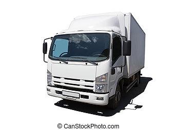 witte , vrachtwagen, informatietechnologie, vrijstaand