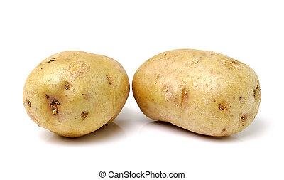 witte , vrijstaand, achtergrond, aardappel