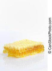 witte , vrijstaand, achtergrond, honingraat