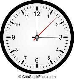 witte , vrijstaand, achtergrond, klok