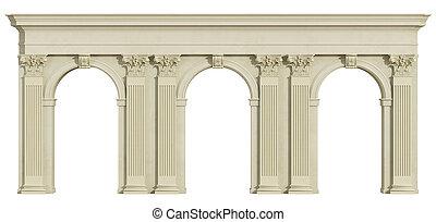 witte , vrijstaand, colonnade, classieke