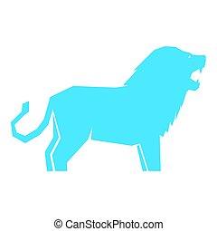 witte , vrijstaand, leeuw, blauwe
