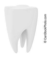 witte , vrijstaand, tand