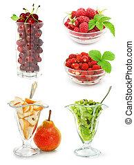 witte , vrijstaand, verzameling, vruchten