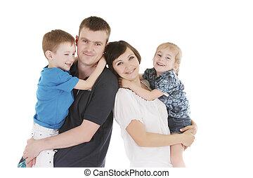 witte , vrolijke , twee, gezin, kinderen