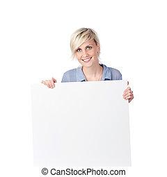 witte , vrouw, blonde , vasthouden, meldingsbord
