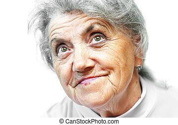 witte , vrouw, oud, gezicht