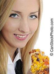witte , vrouw zaak, pizza