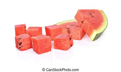 witte , watermeloen, dobbelsteen, achtergrond