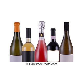 witte wijn, flessen, achtergrond, geassorteerd