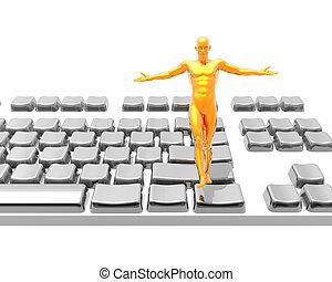 witte , winnaar, vrijstaand, man, toetsenbord