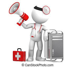 witth, rendbehozás, concept., medikus, elszigetelt,...
