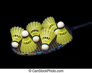witz, sechs, freigestellt, gelber , badminton, federball, ...