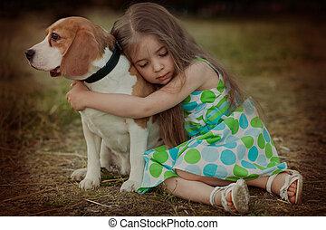 wiuth, 女孩, 狗