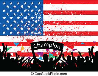 wiwatować, ameryka, tłum