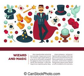 Wizard and magic man with magical attributes and elements