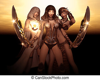 wizard, barbarian and druid - 3d render of wizard, barbarian...