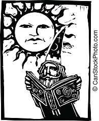 Wizard beneath a sun face - Wizard reading a book beneath a...