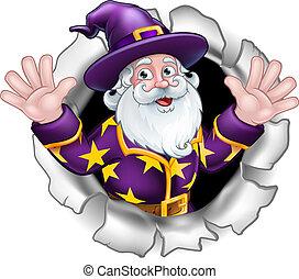Wizard Breaking Through Background Cartoon
