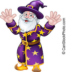 Wizard Cartoon Character Mascot - A wizard merlin magician...