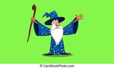 Wizard Cartoon Character With A Cane Casting A Spell. 4K Animation Video Motion Graphics On Green Screen Background