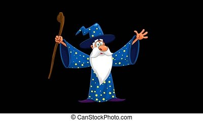 Wizard Cartoon Character With A Cane Casting A Spell. 4K Animation Video Motion Graphics Without Background