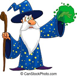 Wizard Cartoon Character With A Cane Making Magic
