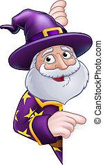 Wizard Cartoon Peeking Round Sign Pointing