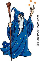 Wizard Cartoon with Blue and Stars Clothes Character Design Mascot Vector